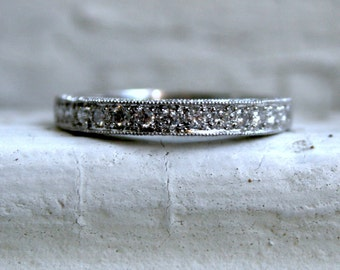 Vintage Platinum Pave Diamond Ring Wedding Band - 0.88ct.
