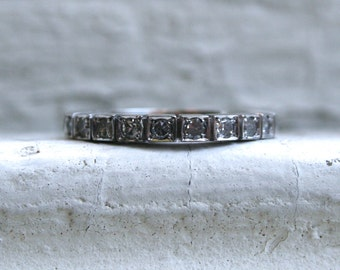 RESERVED - Gorgeous Vintage 18K White Gold Pave Diamond Wedding Band - 0.30ct.