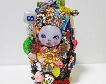 "6.7in Handmade Assemblage Mixedmedia Art Doll ""MATO-chan"""
