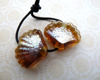 handmade lampwork glass gold sea shell beads, UK pair