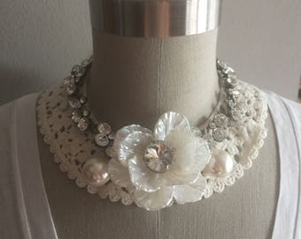ONE of a KIND: Rhinestone and Pearl Embroidered Collar Necklace with Adjustable Jewelry Clasp Closure