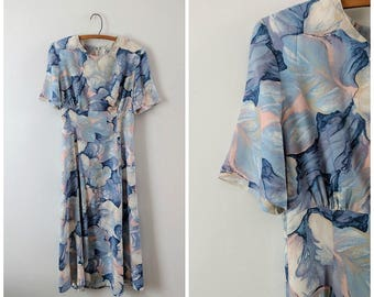 SALE Vintage 1980s print spring dress size small