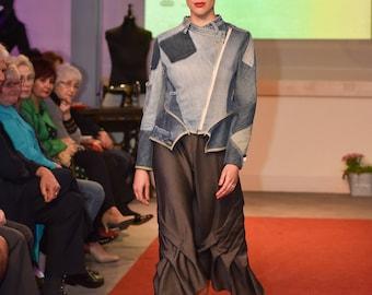Grey Asymmetrical Skirt/ Linen Skirt/ Viscose Skirt/  High Waist A Line Skirt / Oversize Midi Skirt