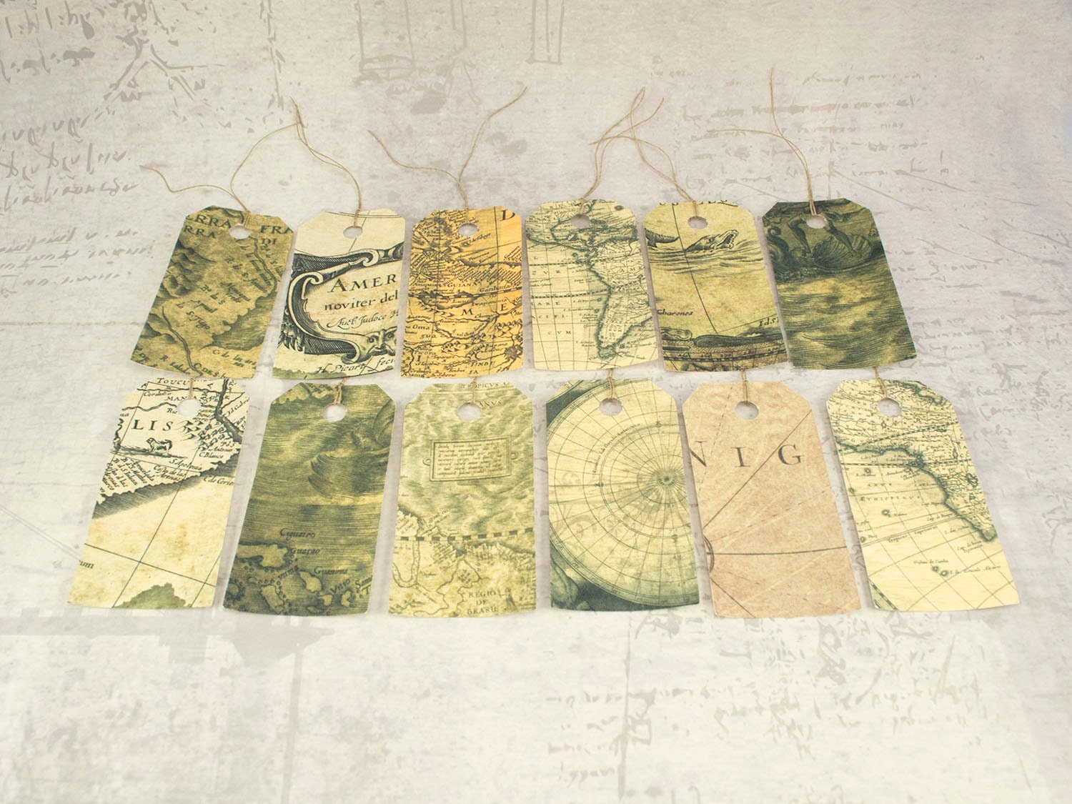 Map gift tags set vintage inspired map hang tags travel gift teacher appreciation gift vintage worldmap sold by lindedesigns gumiabroncs