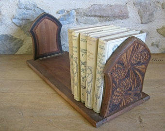 Wood bookends with carved poker work ends - vintage French folding book rack