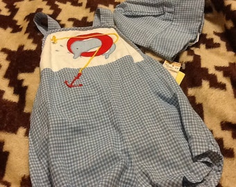 Blue white gingham sunsuit with hat NEW 18 month NWT