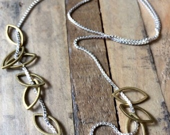 brass LEAVES sterling silver layering spring leaf necklace