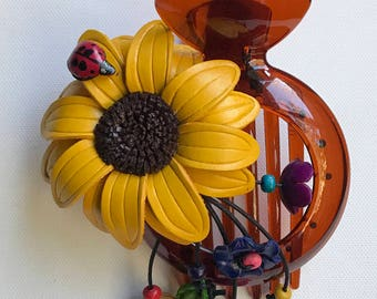 Sunflower Leather flower with ladybug bun holder and hairclip in YELLOW