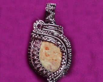 Picture Jasper Wire Wrapped and Wire Woven Pendant in Antiqued Copper Wire