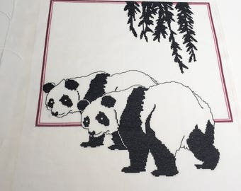 Finished completed Cross stitch - Panda Bears crossstitch counted cross stitch
