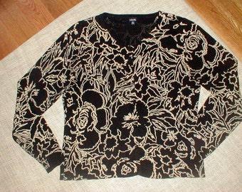 Rafaella XL Extra Large Cardigan 100% Cotton Sweater *Black W/Light Khaki Floral Design*