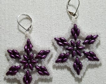 Purple and pearls star earrings wedding holiday gift
