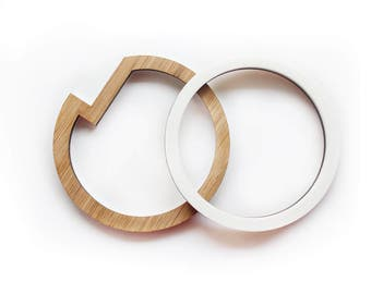 Bracelet set of 2 - two toned wooden bracelet - Wood and white - everyday bangles