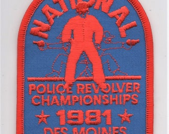 Original Vintage 1981 POLICE REVOLVER CHAMPIONSHIP, Des Moines, Iowa Embroidered Patch Law Enforcement