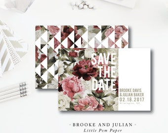 Brooke and Julian Printed Save the Dates | Modern Wedding Floral Save the Date | Printed Darby Cards Collective