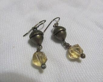 Fall Acorn and Czech Gold Crystal Earrings
