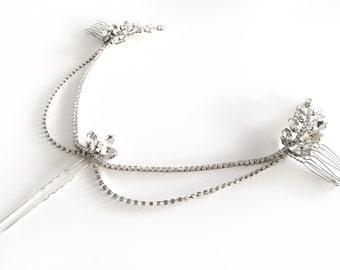 Silver Hair Chain, Wedding Headpiece, Pearl Draped Bridal Hair Comb, Leaf Head Piece, Bridal Hair Accessory, Alice hairchain GD1710