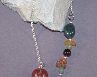 SPRING CLEARANCE Red Jasper, Bloodstone, Aventurine and Ladybug New Age Dowsing Pendulum 124952P