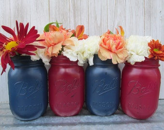 Painted and Distressed Ball Mason Jars- Maroon/Burgundy/Marsala and Dark Navy Blue-Flower Vases, Rustic Wedding, Centerpieces