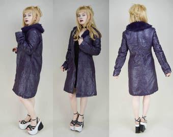 90s Cyber Goth Purple PVC Faux Fur Trim Midi Coat S
