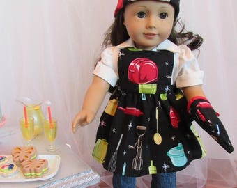 """Retro Cooking/Baking Ensemble (Apron, Hat, Oven Mitt) for 18"""" Doll American Made"""