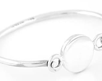 Sterling Silver Monogrammable Engravable Flat Round Bangle Wire Bracelet LOGO Bracelet