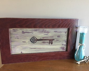 Key Vintage Stained Wooden Sign, Art