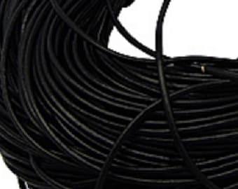 3mm Round Leather Cord, Black, 4 Feet