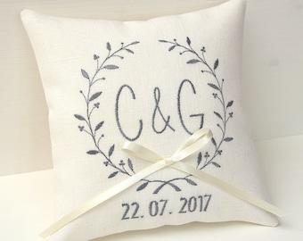 Ring bearer pillow Ivory wedding ring bearer pillow wedding day pillow personalized ring pillow monogram pillow linen wedding pillow