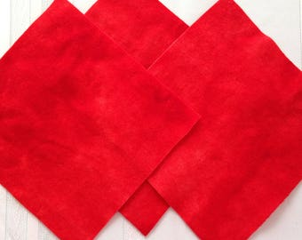 Red  100% Felted and Hand dyed wool square.