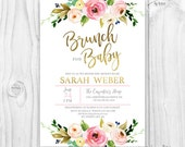 Floral Baby Shower Invitation, Brunch For Baby Invitation, baby girl invites, boho baby shower, pink and gold Floral invitation, gold foil