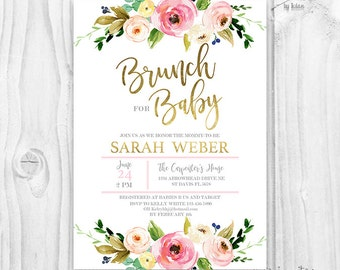 floral baby shower | etsy, Baby shower invitations