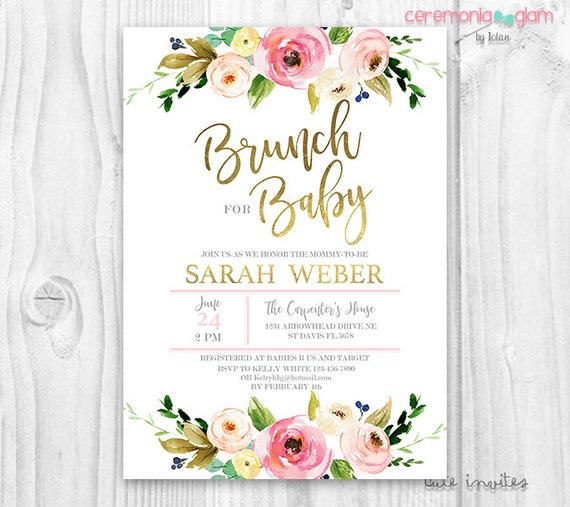 floral baby shower invitation brunch for baby invitation,