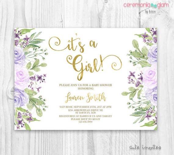 Lavender baby shower invitation girl floral lavender baby shower il570xn filmwisefo
