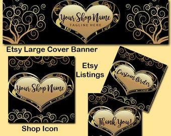 ELEGANT GOLD HEART Complete Etsy Shop package, Gold Heart Etsy Large Cover Set,Etsy Complete Set,Shop Icon,Etsy Shop Package,Wedding Cover