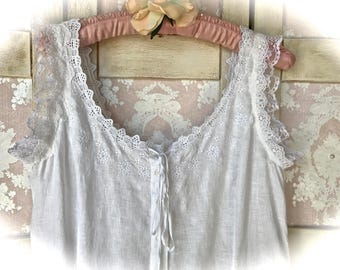 White Nantucket Linen Dress With Embroidery and Layers of Lace