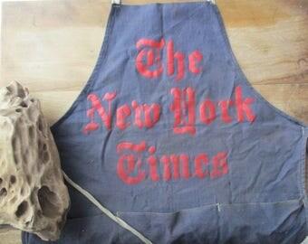 1960s Rare The New York Times Vendor Apron Newspaper memorabilia Collector kitchen apron Hawker Market Vendor Blue Red Logo NYT Journalism