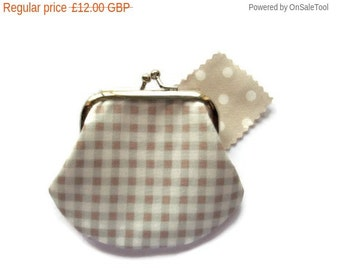 On Sale Gingham Framed Coin Purse - Small Change Purse - Stone Colour - UK Seller