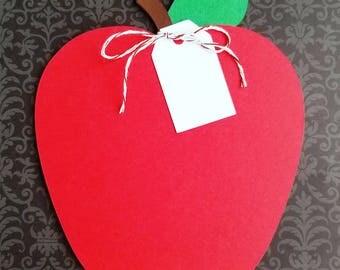 Gift Card Holder, Red Apple, Teacher