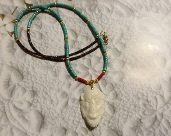 Carved bone Buffalo Bison head pendant necklace turquoise coral shell brass Tribal Ethnic Native Southwestern