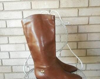 Spring Sale Vintage Etienne Aigner Brown Leather Riding Boots Size 9 Wide EU 40 80s