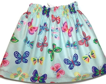 Butterfly Skirt - Baby Skirt - Toddler Skirts - Matching Sister Clothing - Summer Clothing - Elastic Waist Skirt - Cotton Jumper - Preschool