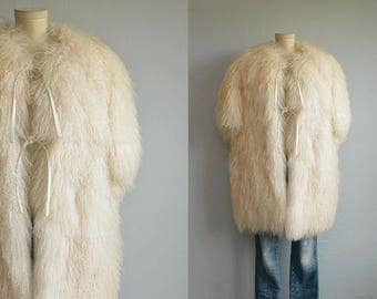 Vintage Tibetan Lamb Coat / 70s Glam White Fur Vest / Fluffy Rocker Bohemian Chic Fur Coat