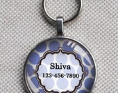 Pet iD tag one inch round CAT ID small breed Dog Tag Dog tag Cat Tag by California Kitties blue and white polka dot round ID CT9345