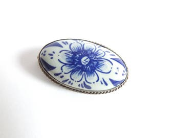 Delft and Silver Brooch