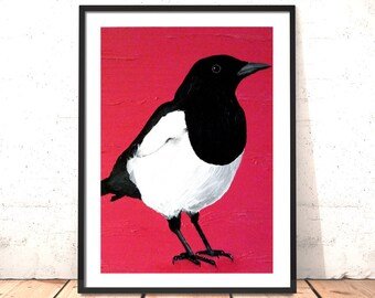 Magpie Print | Two for Joy - Print of Original Magpie Oil Painting | Bird Print | Bird Art | Living Room Picture | Gift for Mum