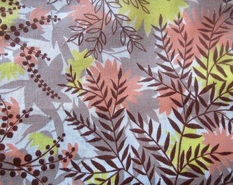 tan, brown and light orange leaf print vintage cotton fabric -- 36 wide by the yard