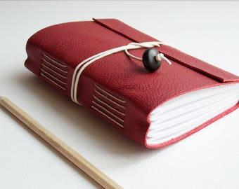 Claret Red Leather Wrap Journal, Hand Bound Notebook, Artist Sketchbook, Bucket List, Memory Journal, Gratitude Journal, A6, A5,
