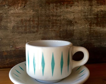 Homer Laughlin Coffee Cup and Saucer, Turquoise Diamond or Bow Tie Border ca. 1960s