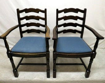 Antique Pair 2 Golden Oak Dining Room Arm Chairs Ladder Wing Backs High Back Kitchen Gentlemans Chairs Country Rustic